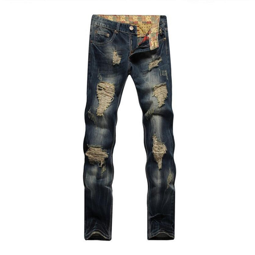 Mens Straight Denim Jeans Big Holes Long Jeans High Street Style Jean Pants Men Spring Cowboy Trousers Size 38