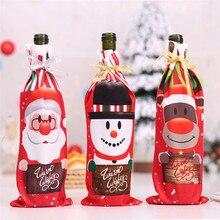 Рождественский стол, Декор, вечерние, для ужина, красное вино, Рождество, Санта-дерево, крышка для бутылки, наборы, декор для бутылки, для нового года, рождественского ужина