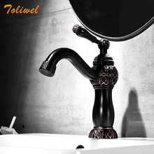 ORB Basin Faucet Hot Cold Bathroom Mixer Tap Modern Black Brass Single Handle Sink Mixer Tap Deck Mounted Basin Crane FE014T azos split faucetsoft basin brass orb cold and hot switch rotatable bathroom below counter basin balcony double handle three hol
