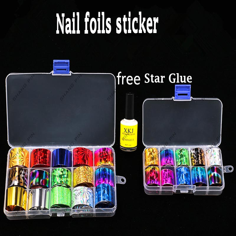 цена на 1 Box Holographic Nail Foil Set 2.5*100cm Laser Starry Nail Sticker Nails Foils Nail Art Kits +Free Star Glue Stencil Decal