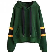 Female Striped Hoodies Harajuku 2019 New Fashion Green Winner Autumn Long Sleeve Womens Outwear Hooded Sweatshirt Tops