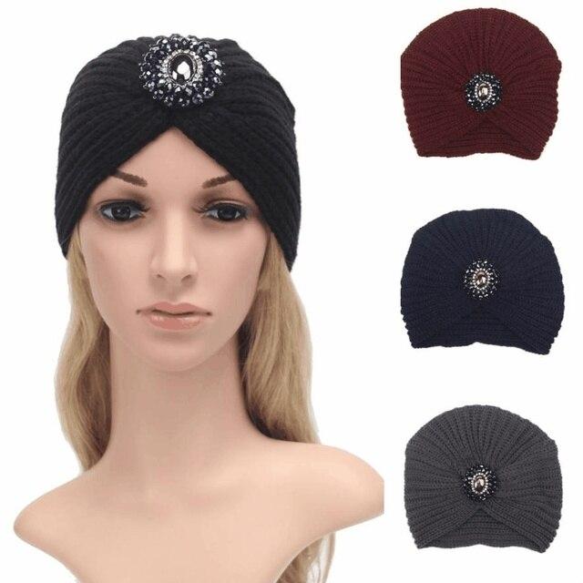 Crochet Beanies Sorban musim dingin wanita topi berlian telinga kasa  berkerudung gadis caps Knitting Wol perempuan 8ca6ddea02