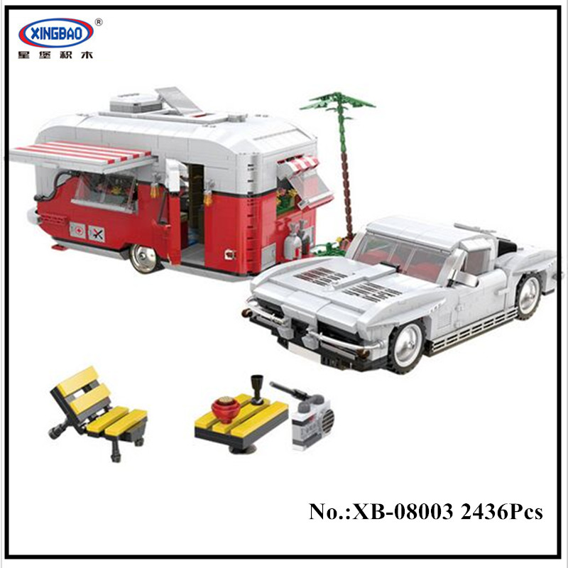IN STOCK XingBao 08003 2436Pcs New Creative Series The MOC Camper Set Children Educational Building Blocks Bricks Toys Model in stock new xingbao 01101 the creative moc chinese architecture series children educational building blocks bricks toys model