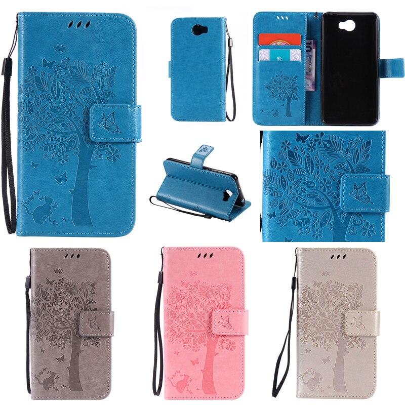 Für Huawei Y3 II Y5 II Cartoon Baum- und Katzendruck Brieftasche - Handy-Zubehör und Ersatzteile