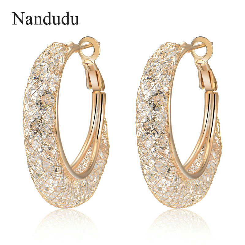 Nandudu Luxury Champagne Gold Wire Mesh Austrian Crystal Earring New Fashion Women Little Hoop Earrings Birthday Gift CE206 nandudu fashion necklace rose wire mesh flower crystal pearl pendant necklaces gift for women cn165