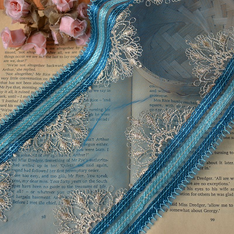 5M/lot Retro Bilateral embroidery lace dark blue lace mesh yarn with gold  thread embroidery clothing material 15.5cm wide SC510-in Lace from Home &  Garden ...