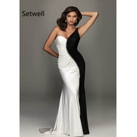 Setwell 2017 Unique Black And White Prom Dresses With One Shoulder Backless Prom Dress Sweep Train Long Mermaid Evening Gown