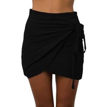 Bodycon Wrap Skirt Mini Skirts Summer Tie up Beach Short Skirts Women Vintage Irregular Halter High Waist Skirts Юбка
