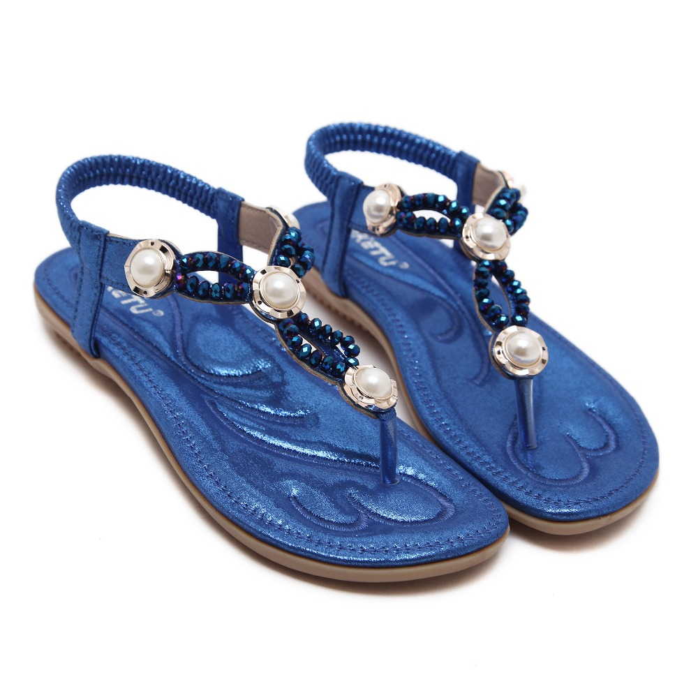 Bohemia Flat Sandals ladies flat Women 39 s shoes low heels 2018 beach sandal flip flops shoes sandalia feminina plus size in Low Heels from Shoes