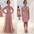 Detachable Train Pink Lace Short Prom Dress 2017 Beading V Neck Long Sleeve Prom Dresses Evening Wear