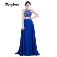 BeryLove Deux Pièces Tulle Robes De Soirée 2018 Longue Bleu Royal Robe de Soirée Perlée Robes De Soirée Pour Les Femmes Prom Party Robe