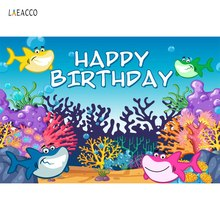 Laeacco Baby Shark Happy Birthday Party Coral Fish Portrait Photography Backdrop Photographic Background Photocall Photo Studio