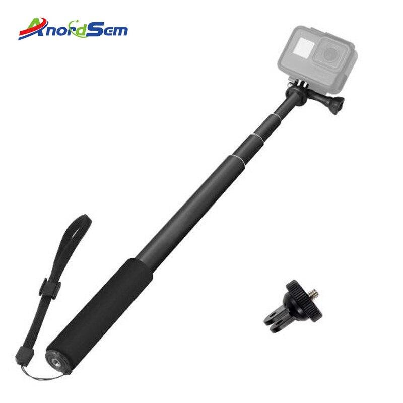 Регулируемая алюминиевая селфи-палка Anordsem монопод для камеры GoPro Hero 7 6 5 Black Silver Session Xiaomi Yi 4K Sjcam Sj4000