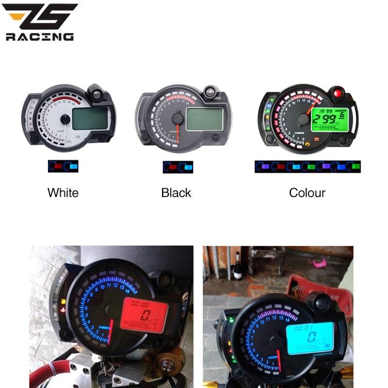 ZS Racing 15000 rpm Moto Universelle LCD Numérique KOSO Compteur De Vitesse Tachymètre D'odomètre Réglable Moto 7 couleurs