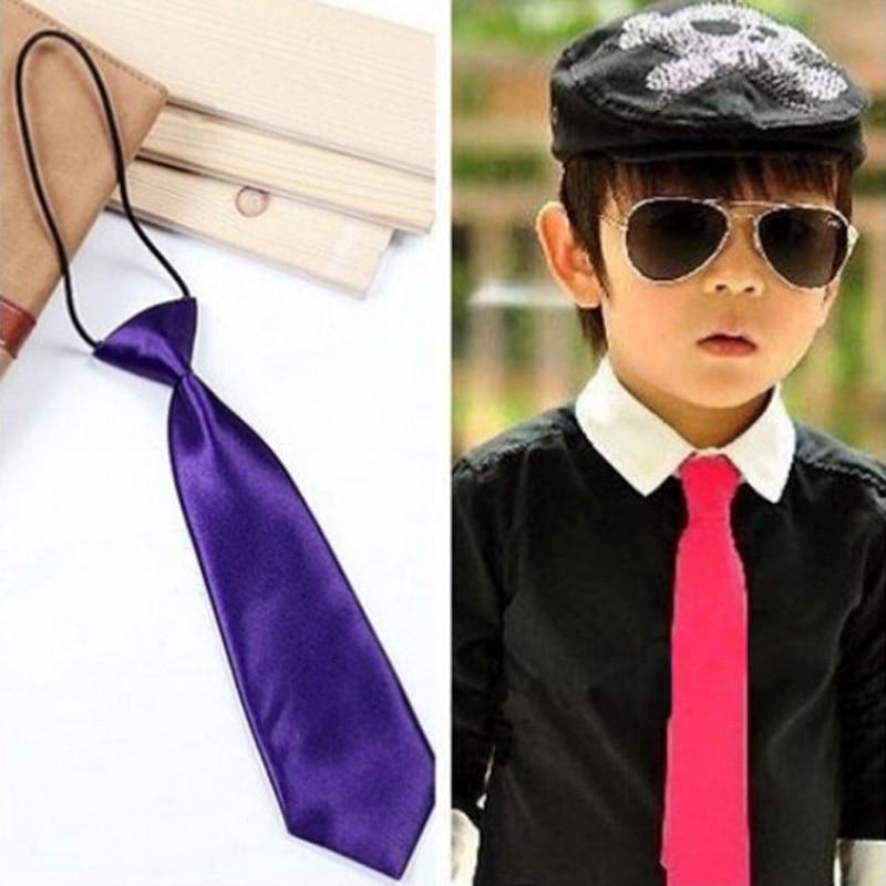 Elastic Plain Solid Colour Neck Tie Formal Weddings Boys Kids Necktie Ties