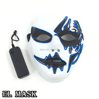 Wholesale 10 Pcs LED Death Mask Ghost Mask With DJ Dance Masquerade Plastic Halloween Mask For