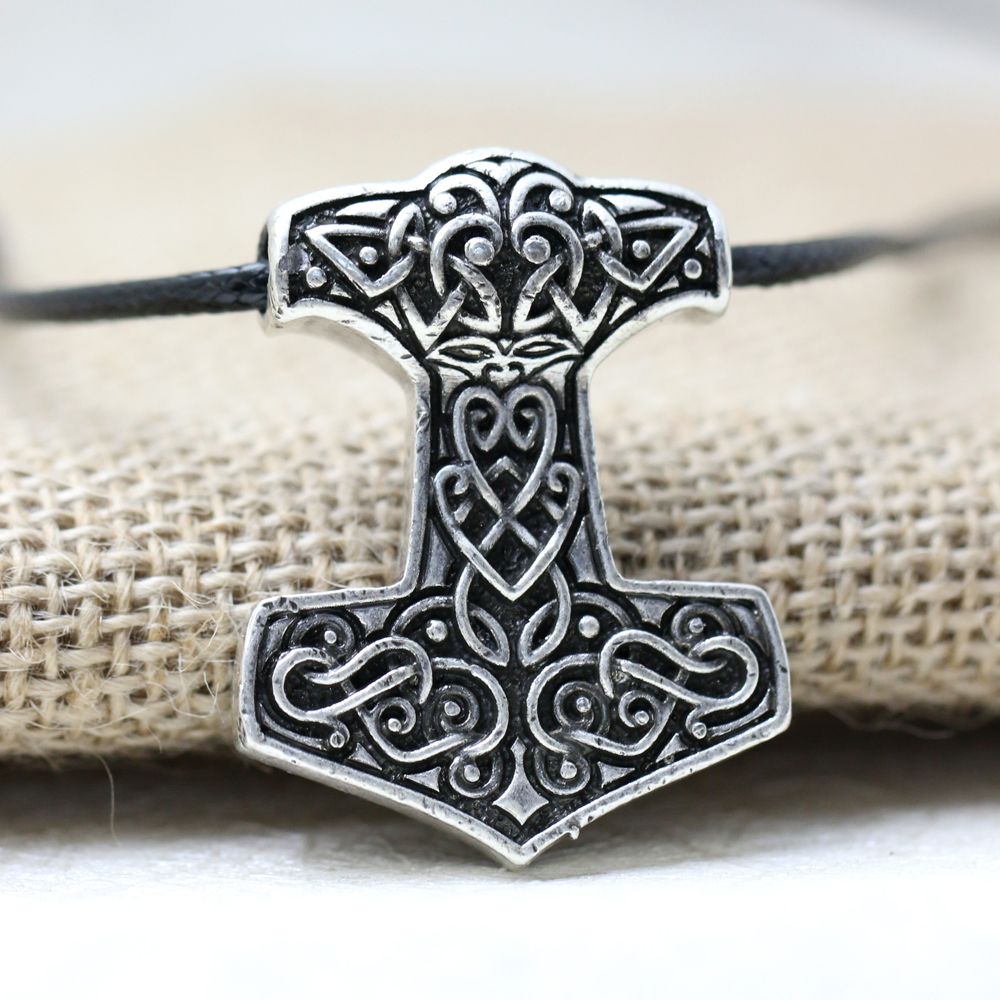 10pcs Norse Vikings Thor's Hammer Mjolnir Pendant Necklace Viking Knot pendant Necklace Scandinavian Norse Jewelry Mammen-in Pendant Necklaces from Jewelry & Accessories    1