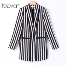 Women Elegant Striped Long Slim Blazer Female Autumn Long Sleeve OL Formal Jacket Women's Casual Blazer Plus Size Coats Talever