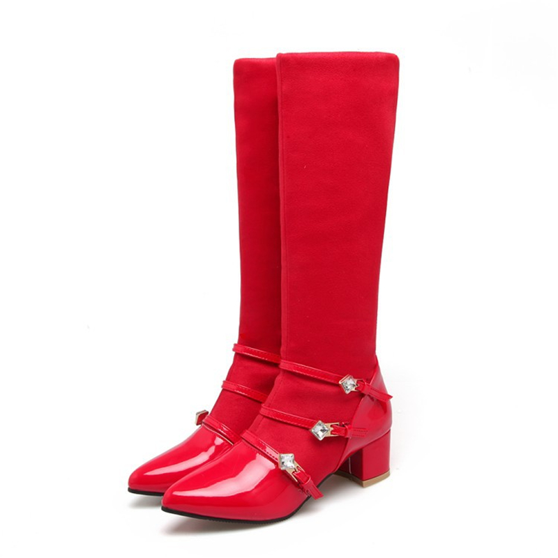 Women Mid Calf Boots 4.5cm Block Heels Flock Crystal Boots Black Red Women Fashion Shoes Buckle Female Ladies Shoes Winter BootsWomen Mid Calf Boots 4.5cm Block Heels Flock Crystal Boots Black Red Women Fashion Shoes Buckle Female Ladies Shoes Winter Boots
