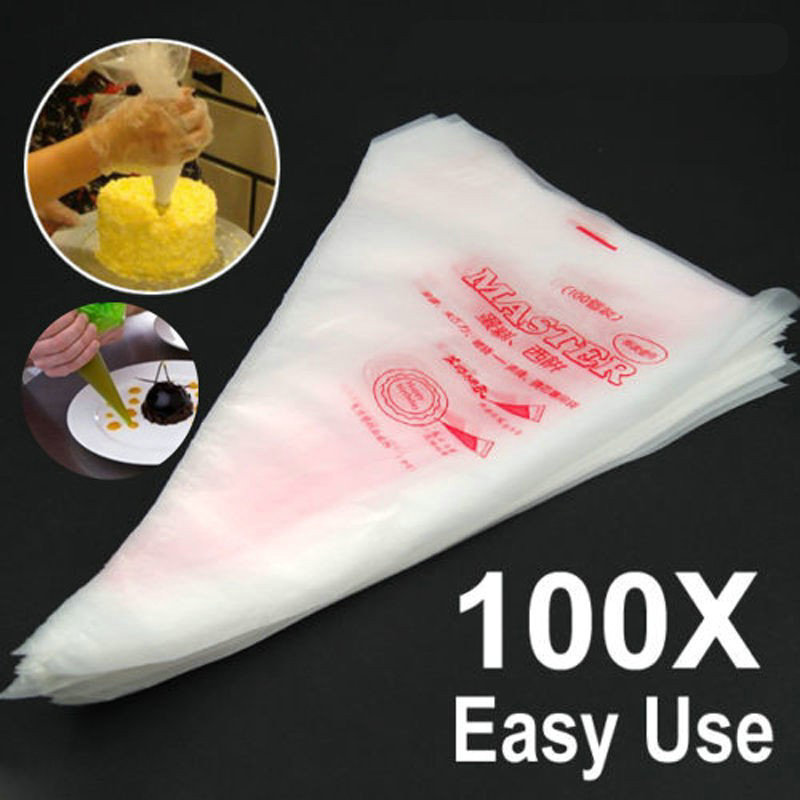 Ustensiles Patisserie 100pcs Piping pakai buang Bag Pastry Bag Icing Piping Cake Cupcake Decorating Tools / Bags