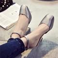 Dulce Tacón Cuadrado Tacones Gruesos de Cuero Suave Tela de Seda Meseta Redonda Niza Toe Zapatos Para Mujeres de La Pu de la Nueva Llegada de la Hebilla