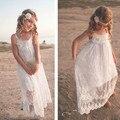 8-14 eyears INS Caliente Vestido de Niña de las Flores Niño Max Encaje Blanco playa Honda Flor Gasa Vestido Nuevo de Lujo para el Bebé