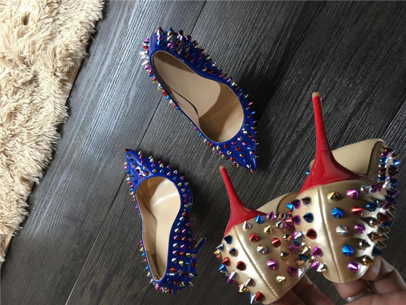 Studd Cuir Chaussures Sexy Pointes Clouté Coloré 12 A 10 Rivets 8 Xl Talons En as Heelsfashion Mode Show Aiguilles Haute Cm As Show qwIFUEq