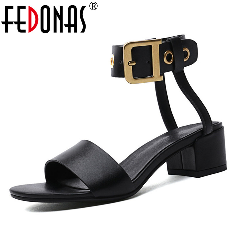 FEDONAS 2019 Summer New Punk Women Sandals Fashion Genuine Leather Round Toe Square Heeled Shoes Woman