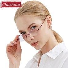 Chashma Brand Fashion Women Reading Glasses Rhinestone Rimless Tint Colored Lenses Read 1.5, 2.0, 2.5, 3.0, 3.5