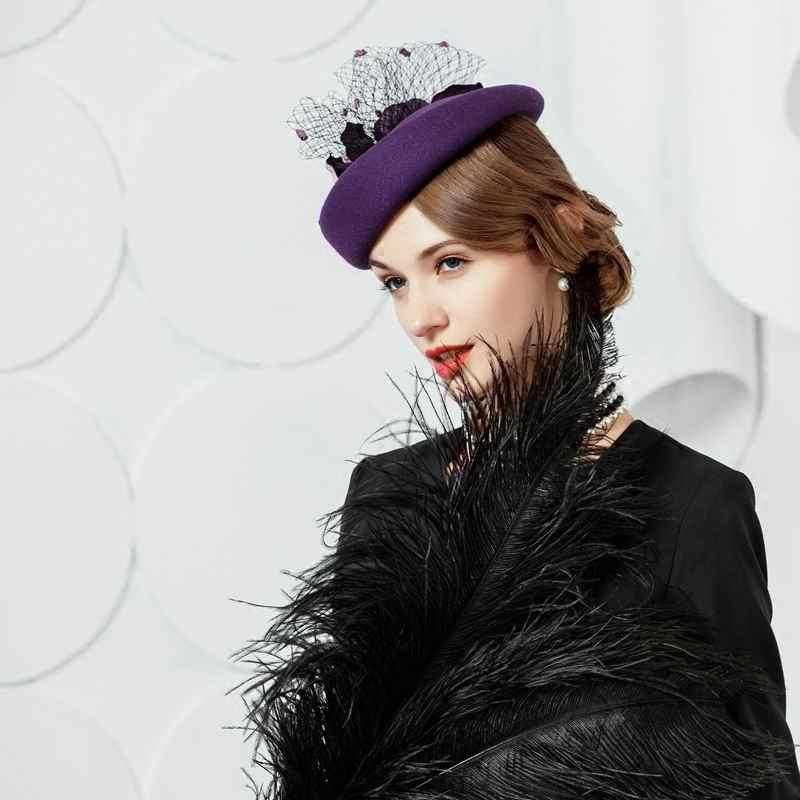 Women Wool Hats Female Elegant Vintage Wedding Cap Ladies Formal Floral Fedoras Hat Party Church Fedora Lady Woolen Cap M3097