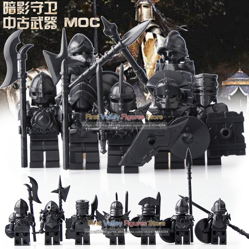 DR.TONG 7PCS Medieval Knight Game of Thrones Unsullied Action Figure Bricks Set Model Building Blocks Toys for Children BR77