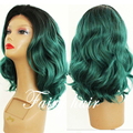 High Quality Short Wavy Ombre1b/Turquoise Synthetic Lace Front Wig Synthetic Two Tone Black/Green Lace Wig for Black Woman