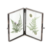 Black Brass Glass Artwork Photo Picture Display Folding Screen Type Frame Plant Specimen Clip Modern Decor Card Holder 2 Folded
