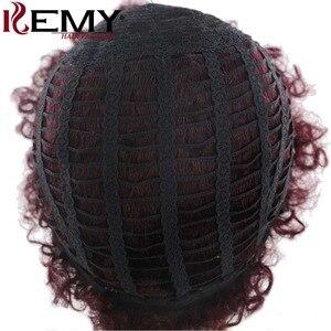 Image 5 - Афро странный фигурные парики Кеми волосы короткие парики человеческих волос для черный Для женщин натуральный черный, красный Цвет бразильский Волосы remy парики