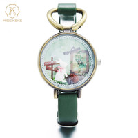 Relojes Mujer 2016 MISS KEKE Clay Cute 3D Mini World Rose Clock Gold Women Watch Ladies