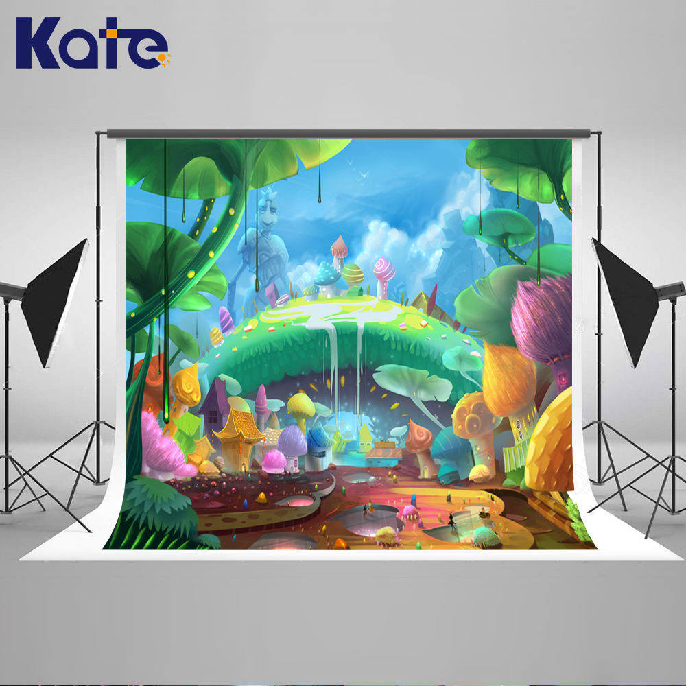 ФОТО Kate Newborn Photography Background Cartoon Forest  Colorful Mushrooms Photo Fairy Tale World Backdrops For Photography Studio