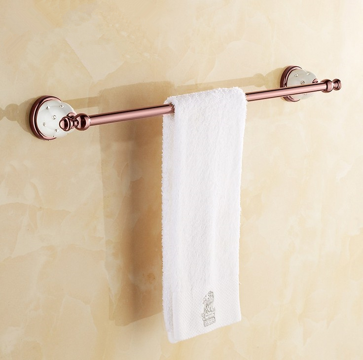 (Free Shipping) Bathroom Accessories,Quality Brass Rose Gold Finish Single Towel Bar&Towel Rack/ Modern Fashion Bath Products lengthened thickening bathroom towel bar single lever rack free nail
