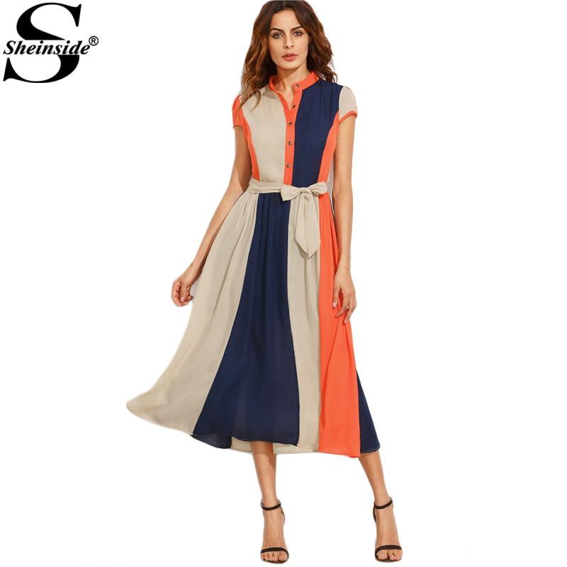 366d049124 Sheinside Color Block Women Dress Bow Tie Talia Guziki Midi Sukienka ...