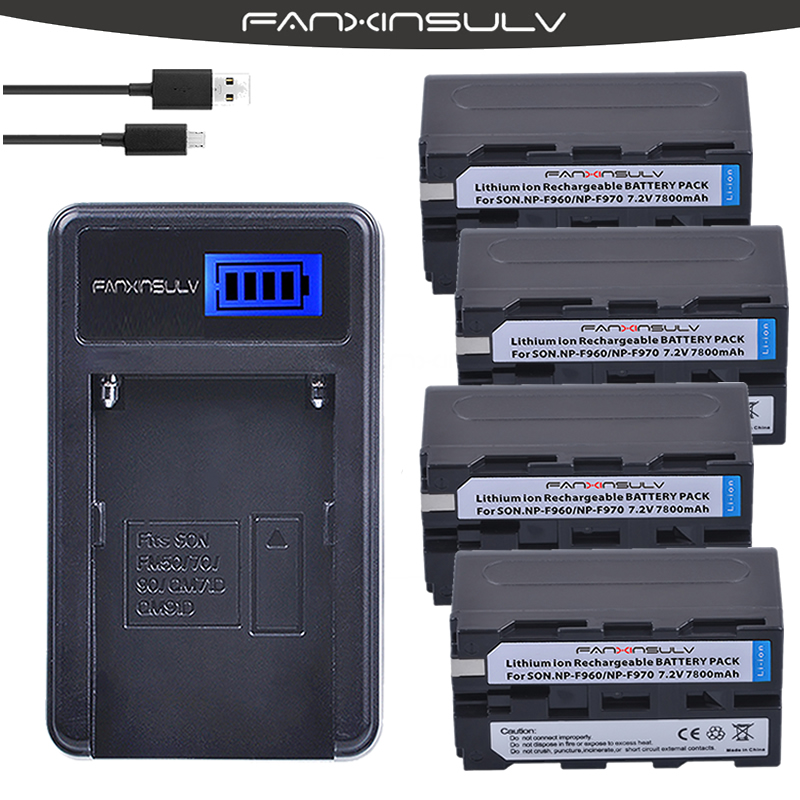 4 x 7800mAh NP-F970 NP F970 F960 Battery + USB LCD Charger For sony HXR-NX3 dcrvx2100 hdrfx1 hdrfx7 hd1000u hvrz1u pm092 <font><b>mc2500</b></font> image