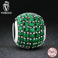 VOROCO Classic Charms 925 Sterling Silver Pink & Green Clearly CZ Beads Charms fit VRC Bracelet Women Fashion Jewelry C023