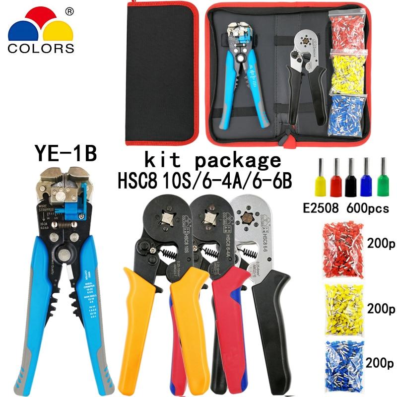 Zangen Kit Crimpen Werkzeug Hsc8 10 S/6-4/6-6 Zangen Blau Abisolieren Schneiden Zange 600 Stücke E2508 Rohr Terminal Anzug Marke Elektrische Werkzeuge Set Handwerkzeuge