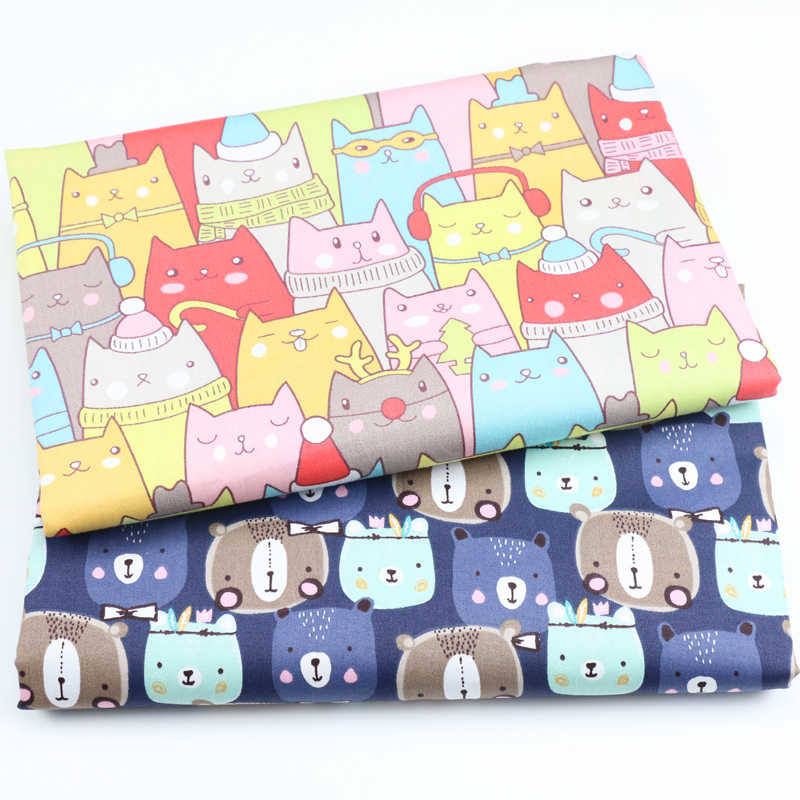 Cat Printed Cotton Fabric Meters for Baby Boy Crib Infant Toddler Kids Children Bed Sheet Cushions Tent Sewing Cloth