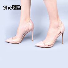 Купить с кэшбэком She ERA 2018 NEW Fashion Women High Heels Patent Leather&PVC Transparent Women Pumps Sexy Women Party Shoes 6/8/10CM Heel Sandal