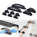 VODOOL 10 piezas de línea de Cable de organizador de Cable de plástico Clip lazos fijador cierre titular de escritorio de Cable de dispositivo de soporte