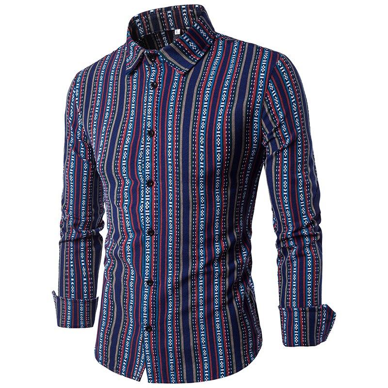 Ideal Vertical Striped Shirt Men 2017 Autumn Fashion Casual Button Down  UL25
