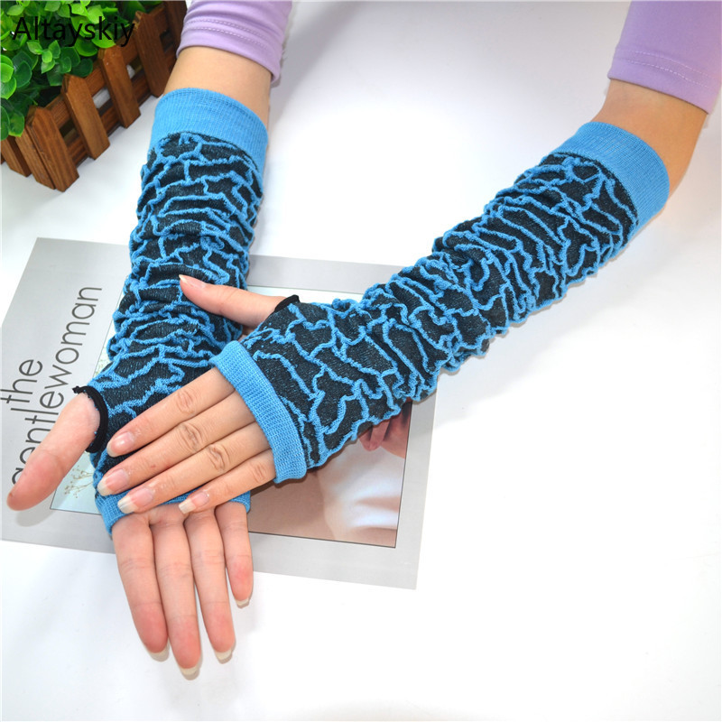 Arm Warmers Women Printing Half Finger Korean Style Womens Lengthen Trendy Stylish Leisure 2019 Sleeve Comfortable Elasticity