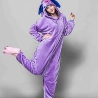 One piece animal pajamas Kigurumi cartoon animal purple umbreon onesie Flannel warm long sleeve hooded onesies for adults