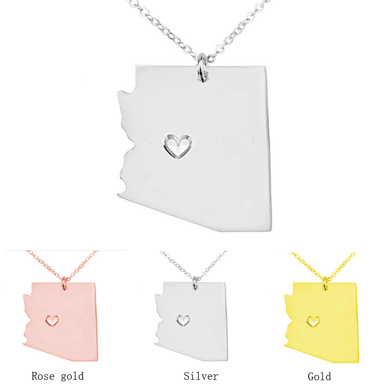Rose gold Arizona state map necklace Stainless Steel pendants S925 Silver map Pendant Necklaces bijouterie accessories jewelry