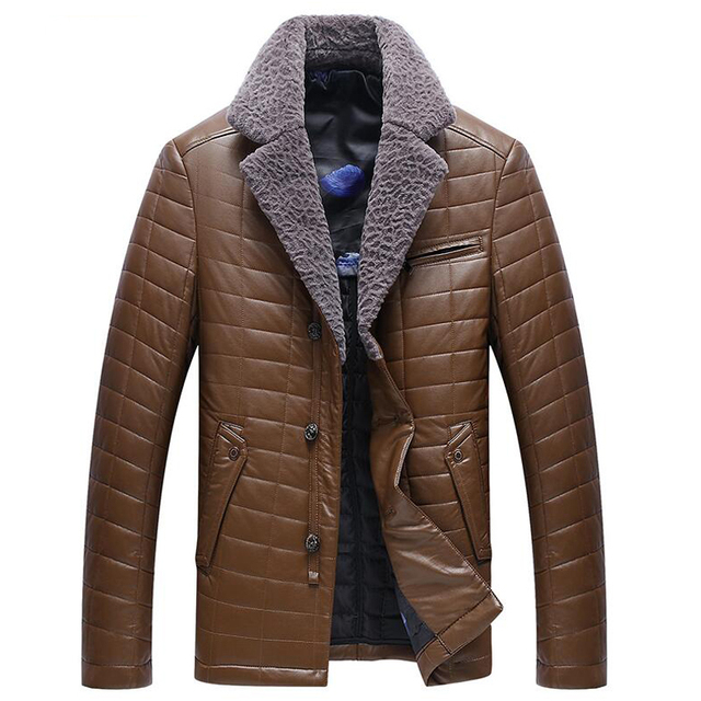 China Imported Turn-down Fur Collar 2017 Winter Mens Suit Leather Jacket New Arrivals Brand Dress Leather Jacket Coats Mens C181