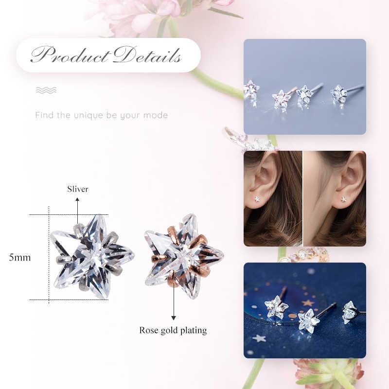 Umode Nieuwe Mode 925 Sterling Zilveren Sterren Stud Earring Voor Vrouwen Nieuwe Rose En Wit Goud Sieraden Pendientes Mujer ALE0575